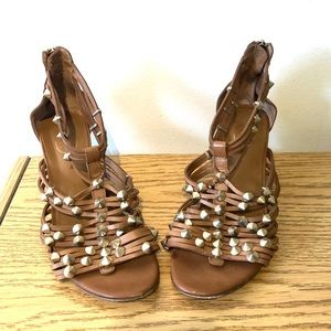 ASH | brown strappy wedge heels with studs